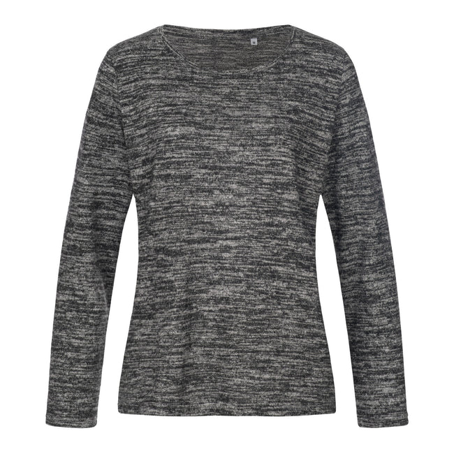 Dark Grey Melange - Front - Stedman Womens-Ladies Stars Crew Neck Knitted Sweater