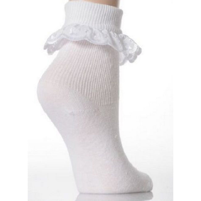 White - Side - Baby-Girls Cotton Rich Lace Frilly Top Socks With Floral Design (Pack Of 3)