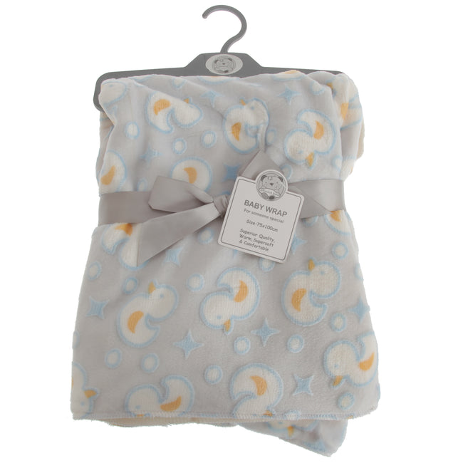 Grey-Blue-Yellow - Front - Snuggle Baby Baby Boys-Girls Duck Design Wrap