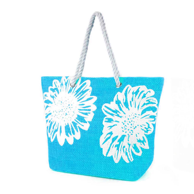 Turquoise - Front - Womens-Ladies Floral Print Woven Summer Handbag