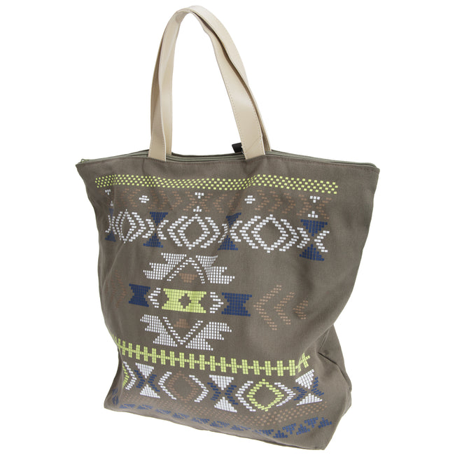 Brown - Front - FLOSO Womens-Ladies Cotton Rich Aztec Print Top Handle Handbag