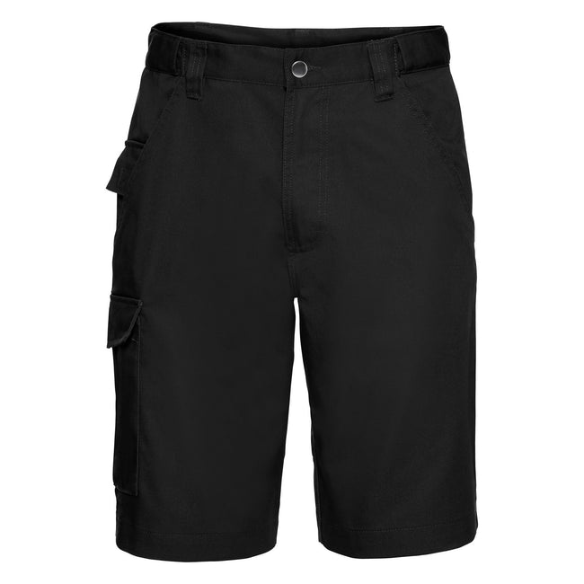Black - Back - Russell Workwear Twill Shorts