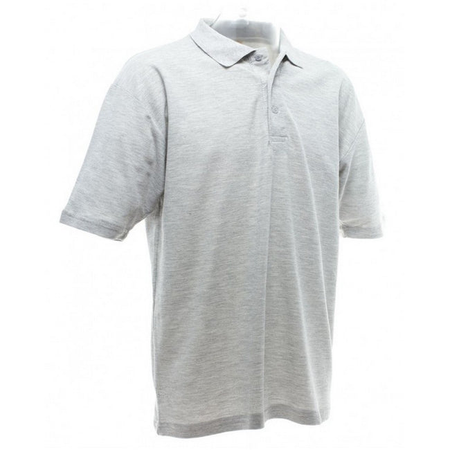 Heather Grey - Back - UCC 50-50 Mens Plain Piqué Short Sleeve Polo Shirt
