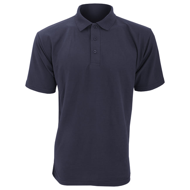Navy Blue - Front - UCC 50-50 Mens Plain Piqué Short Sleeve Polo Shirt