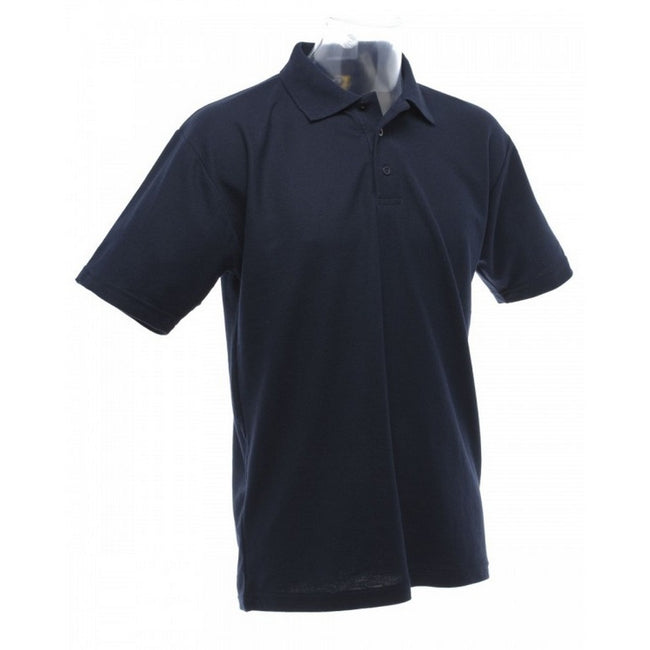 Navy Blue - Back - UCC 50-50 Mens Plain Piqué Short Sleeve Polo Shirt