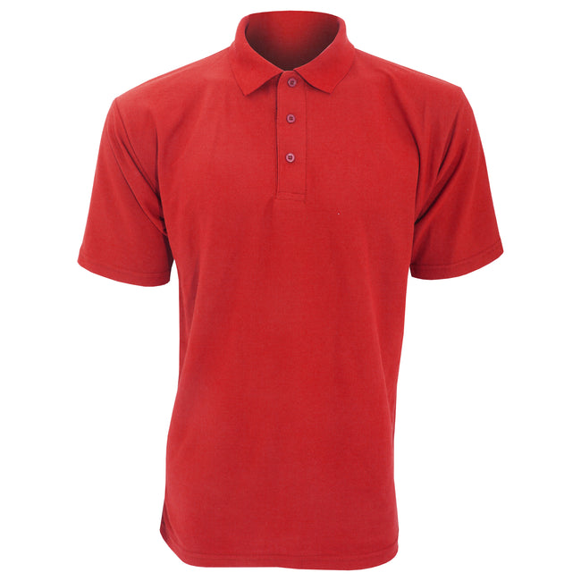 Red - Front - UCC 50-50 Mens Plain Piqué Short Sleeve Polo Shirt