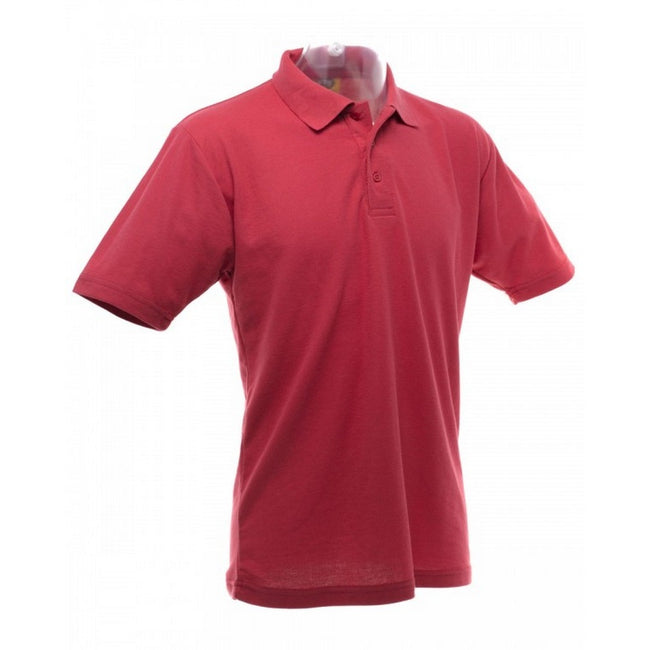 Red - Back - UCC 50-50 Mens Plain Piqué Short Sleeve Polo Shirt