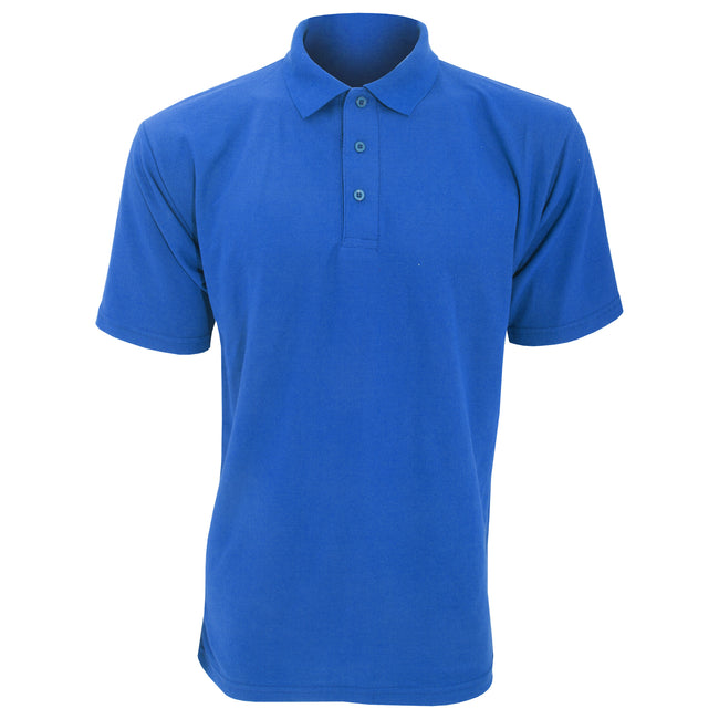 Royal - Front - UCC 50-50 Mens Plain Piqué Short Sleeve Polo Shirt