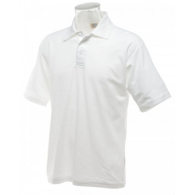 White - Front - UCC 50-50 Mens Plain Piqué Short Sleeve Polo Shirt