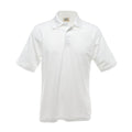 White - Side - UCC 50-50 Mens Plain Piqué Short Sleeve Polo Shirt