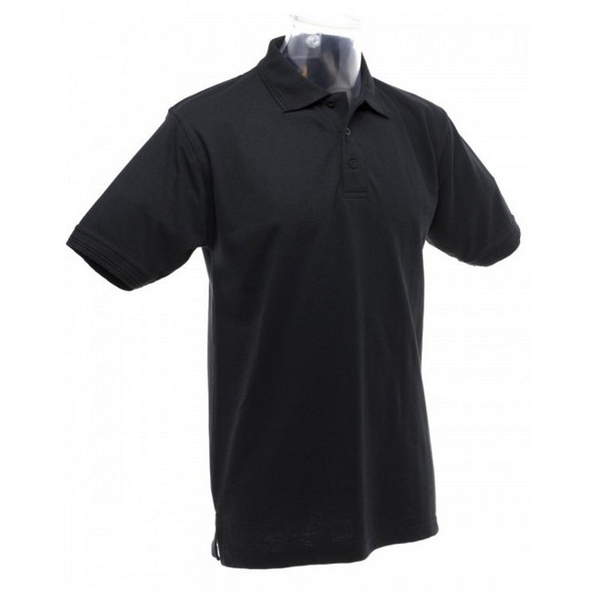Black - Back - UCC 50-50 Mens Heavyweight Plain Pique Short Sleeve Polo Shirt