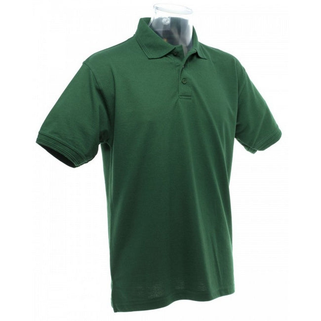 Bottle Green - Back - UCC 50-50 Mens Heavyweight Plain Pique Short Sleeve Polo Shirt