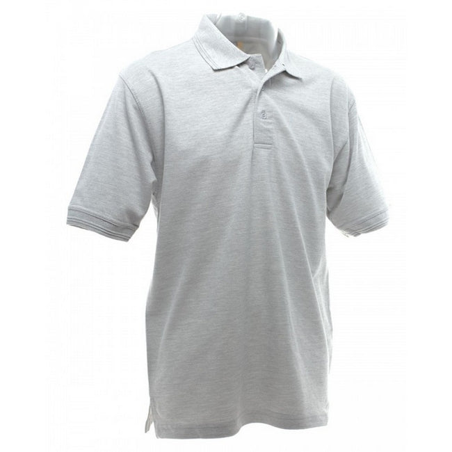 Heather Grey - Back - UCC 50-50 Mens Heavyweight Plain Pique Short Sleeve Polo Shirt