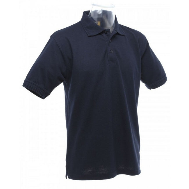 Navy Blue - Back - UCC 50-50 Mens Heavyweight Plain Pique Short Sleeve Polo Shirt