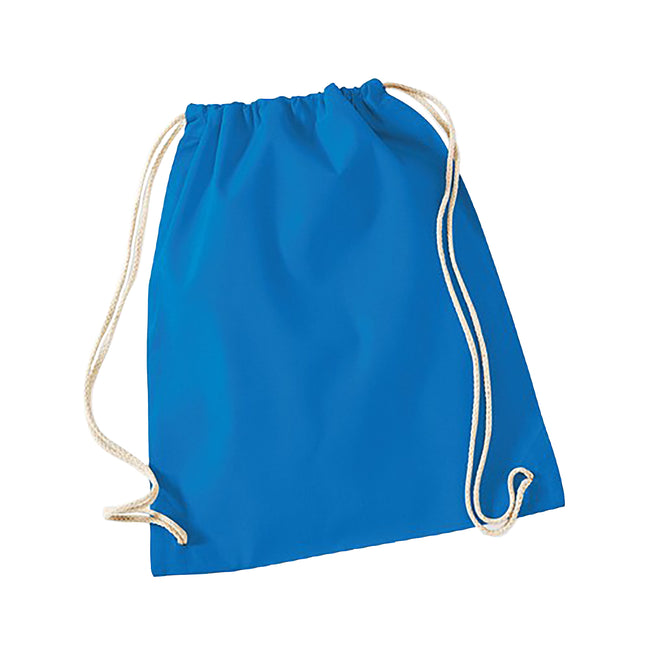 Sapphire Blue - Front - Westford Mill Cotton Gymsac Bag - 12 Litres
