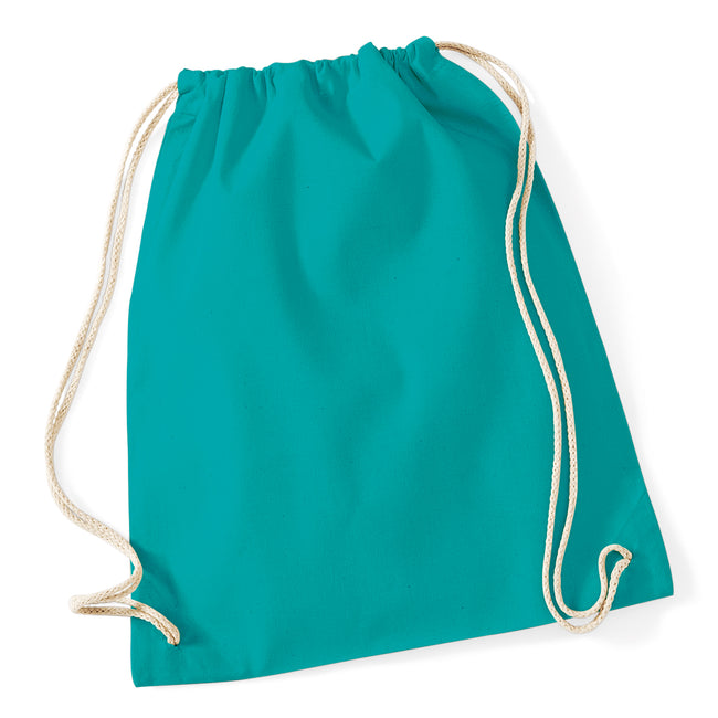 Emerald - Front - Westford Mill Cotton Gymsac Bag - 12 Litres