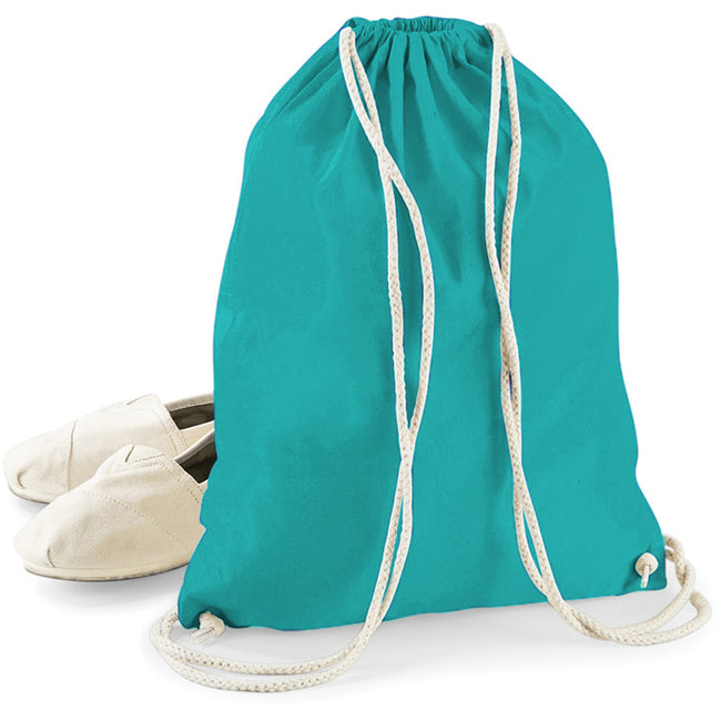 Emerald - Back - Westford Mill Cotton Gymsac Bag - 12 Litres
