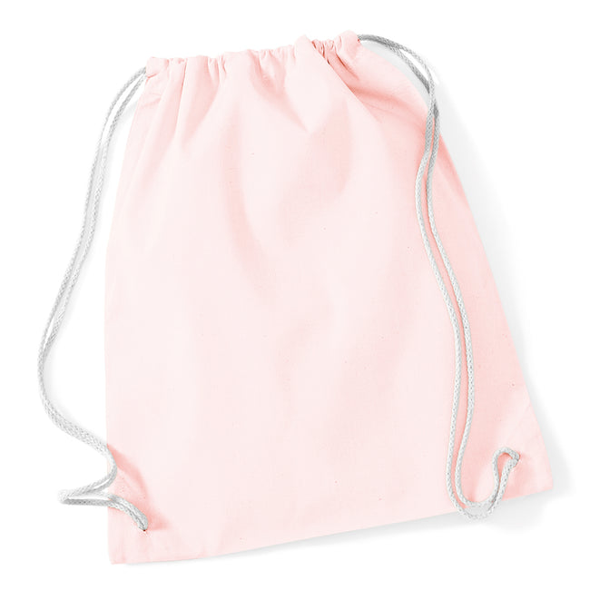 Pastel Pink-White - Front - Westford Mill Cotton Gymsac Bag - 12 Litres