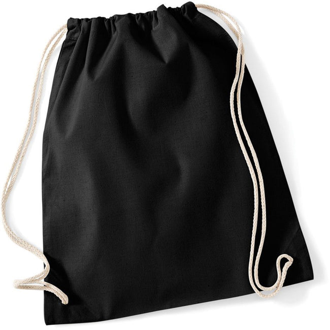 Black - Back - Westford Mill Cotton Gymsac Bag - 12 Litres