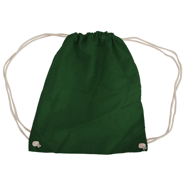Bottle Green - Front - Westford Mill Cotton Gymsac Bag - 12 Litres