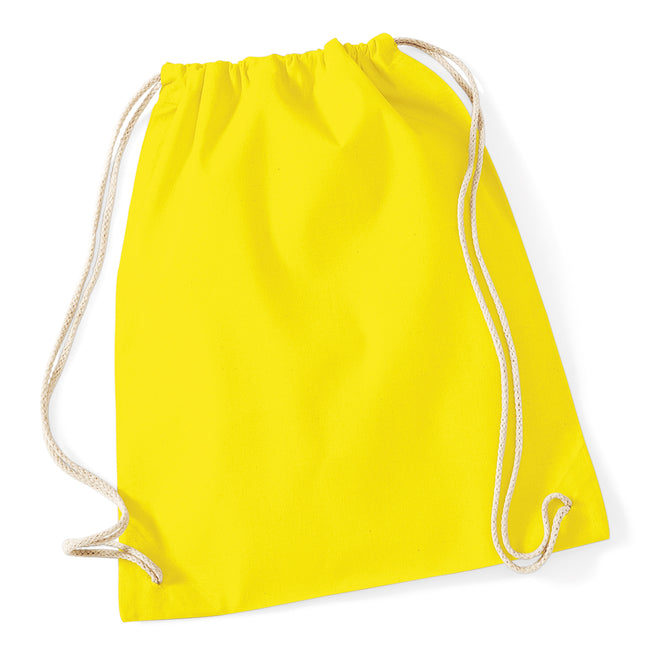 Yellow - Front - Westford Mill Cotton Gymsac Bag - 12 Litres