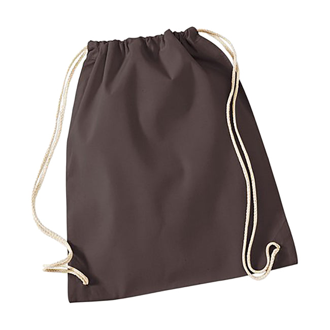 Chocolate - Front - Westford Mill Cotton Gymsac Bag - 12 Litres