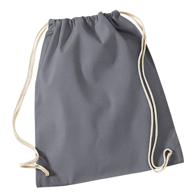 Graphite - Front - Westford Mill Cotton Gymsac Bag - 12 Litres
