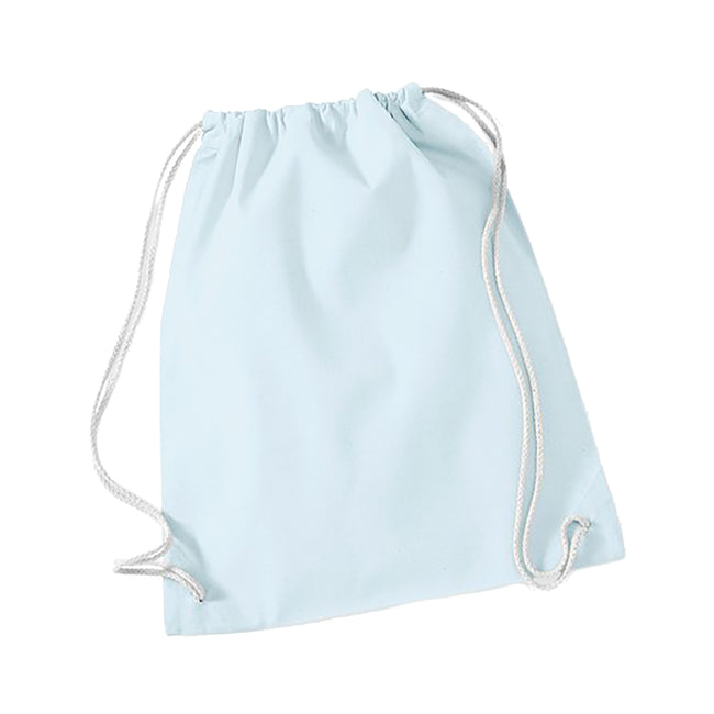 Pastel Blue-White - Front - Westford Mill Cotton Gymsac Bag - 12 Litres