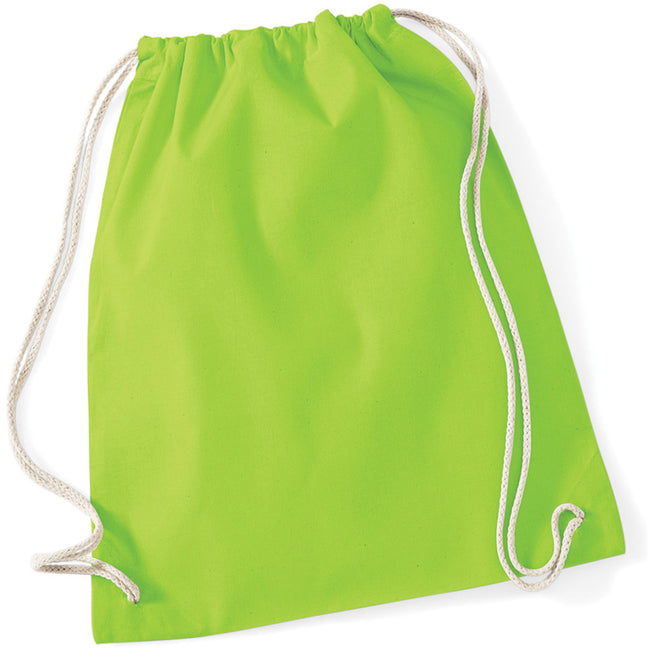 Lime - Back - Westford Mill Cotton Gymsac Bag - 12 Litres