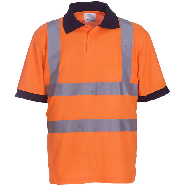 Hi Vis Orange - Back - Yoko Hi-Vis Short Sleeve Polo Shirt - Mens Workwear