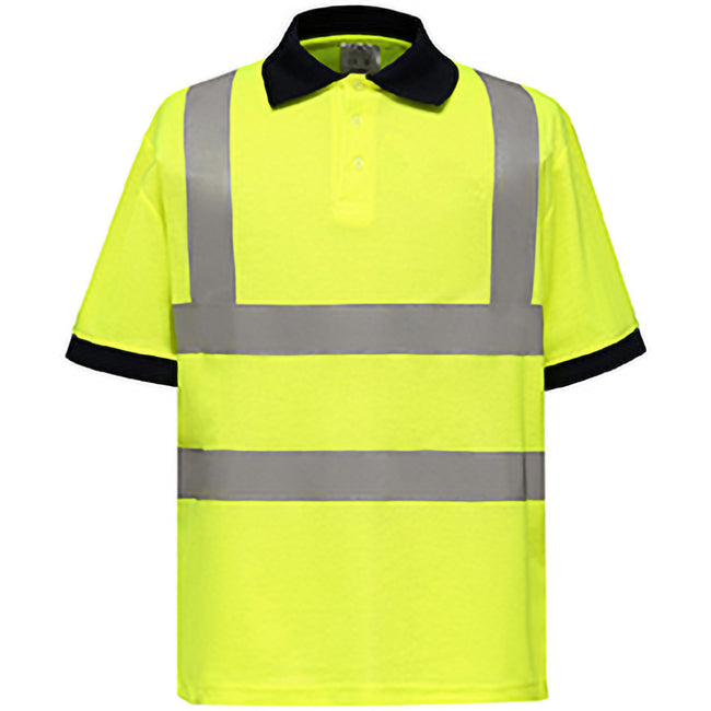 Hi-Vis Yellow - Back - Yoko Hi-Vis Short Sleeve Polo Shirt - Mens Workwear