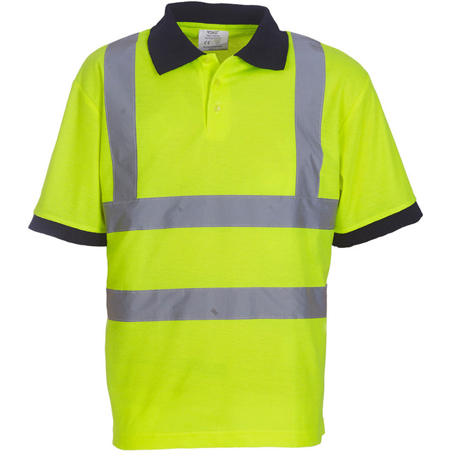 Hi-Vis Yellow - Side - Yoko Hi-Vis Short Sleeve Polo Shirt - Mens Workwear