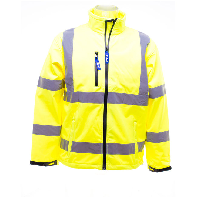 Hi-Vis Yellow - Pack Shot - Yoko Mens Hi-Vis Sofshell Jacket