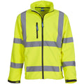 Hi-Vis Yellow - Close up - Yoko Mens Hi-Vis Sofshell Jacket