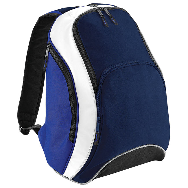 French Navy-Bright Royal-White - Front - Bagbase Teamwear Backpack - Rucksack (21 Litres)