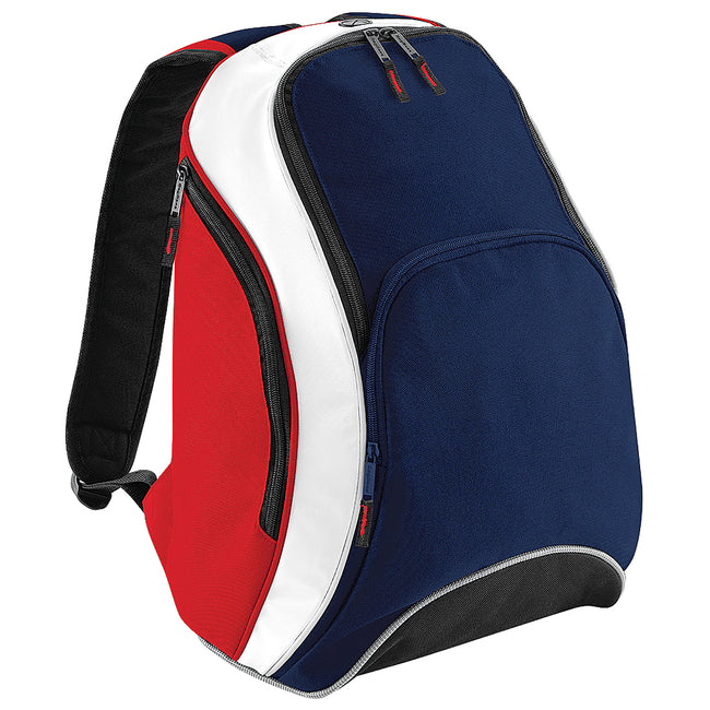 F Navy-Classic Red-White - Front - Bagbase Teamwear Backpack - Rucksack (21 Litres)