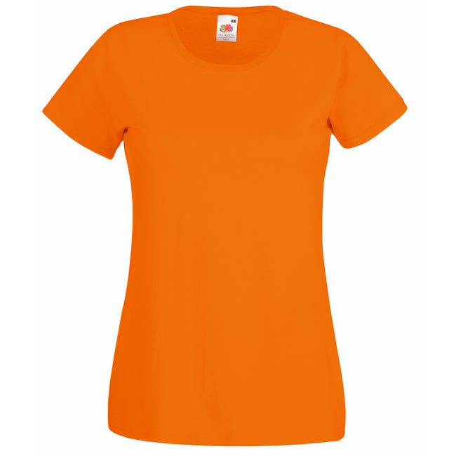 Orange - Front - Fruit Of The Loom Ladies-Womens Lady-Fit Valueweight Short Sleeve T-Shirt