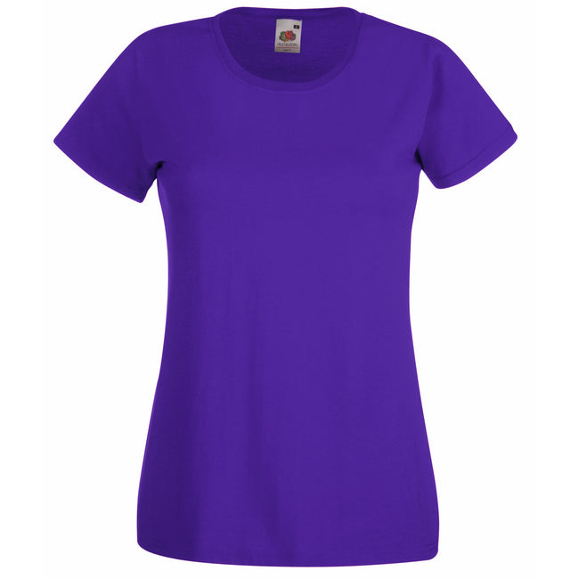Purple - Front - Fruit Of The Loom Ladies-Womens Lady-Fit Valueweight Short Sleeve T-Shirt