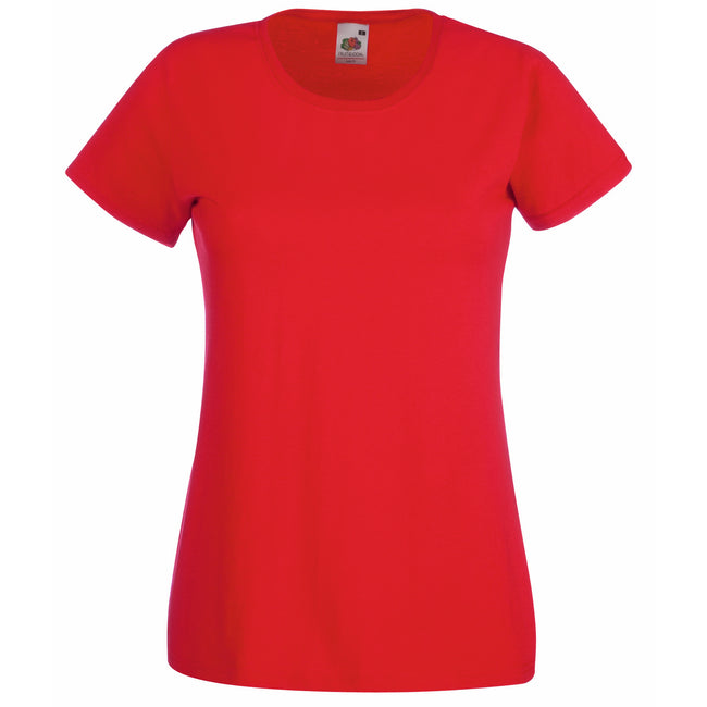 Red - Front - Fruit Of The Loom Ladies-Womens Lady-Fit Valueweight Short Sleeve T-Shirt
