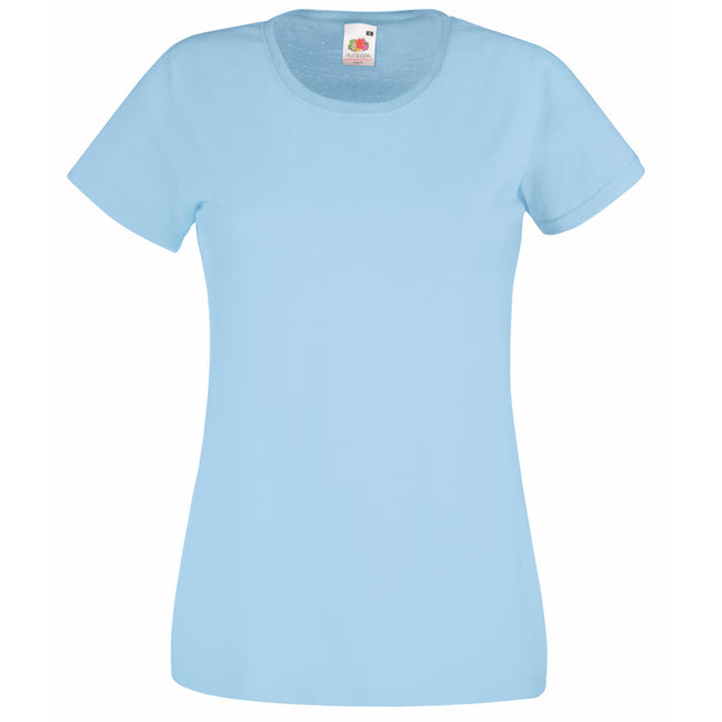 Sky Blue - Front - Fruit Of The Loom Ladies-Womens Lady-Fit Valueweight Short Sleeve T-Shirt