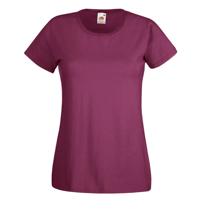 Burgundy - Front - Fruit Of The Loom Ladies-Womens Lady-Fit Valueweight Short Sleeve T-Shirt