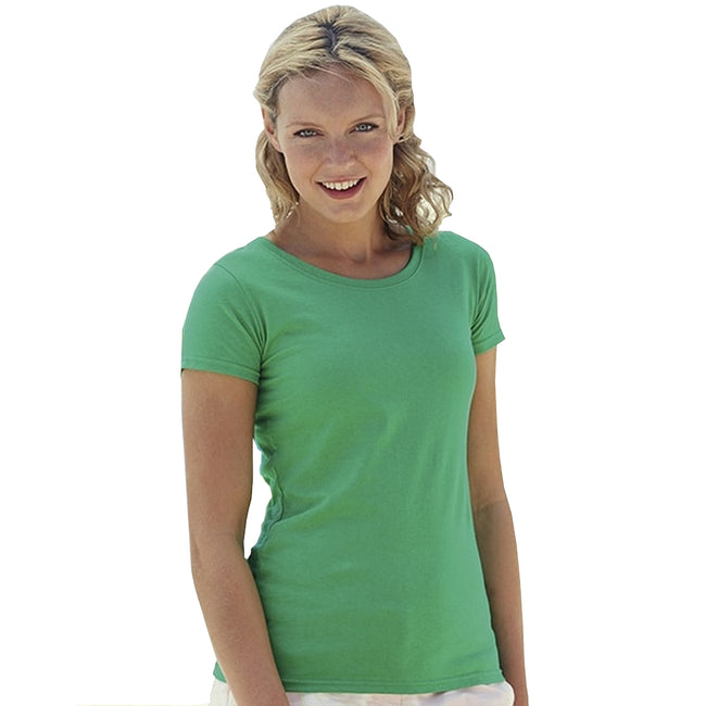 Kelly Green - Back - Fruit Of The Loom Ladies-Womens Lady-Fit Valueweight Short Sleeve T-Shirt