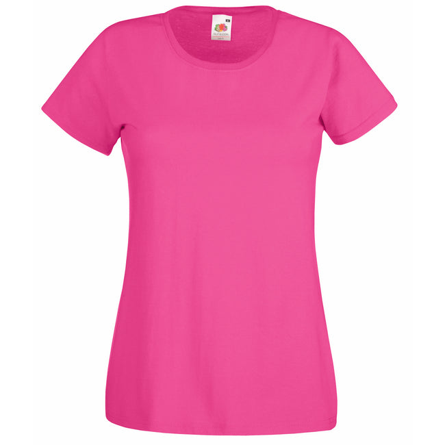 Fuchsia - Front - Fruit Of The Loom Ladies-Womens Lady-Fit Valueweight Short Sleeve T-Shirt