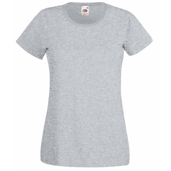 Heather Grey - Front - Fruit Of The Loom Ladies-Womens Lady-Fit Valueweight Short Sleeve T-Shirt