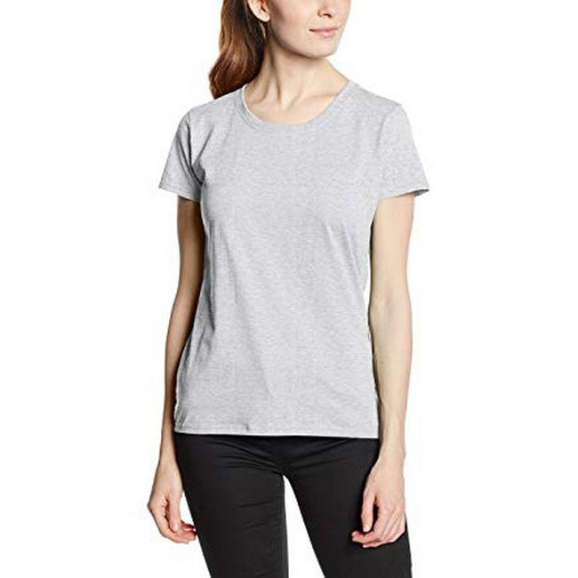 Heather Grey - Back - Fruit Of The Loom Ladies-Womens Lady-Fit Valueweight Short Sleeve T-Shirt