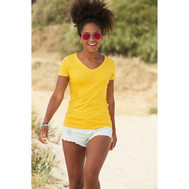 Sunflower - Back - Fruit Of The Loom Ladies Lady-Fit Valueweight V-Neck Short Sleeve T-Shirt