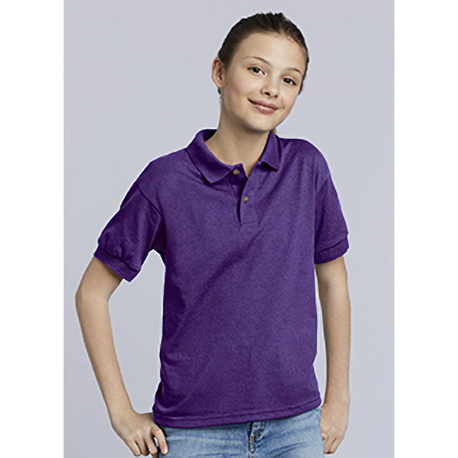 Purple - Close up - Gildan DryBlend Childrens Unisex Jersey Polo Shirt