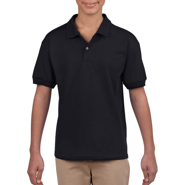 Black - Back - Gildan DryBlend Childrens Unisex Jersey Polo Shirt
