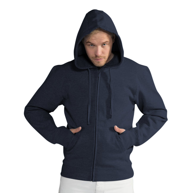 White - Front - SG Mens Full Zip Urban Hooded Sweatshirt - Hoodie