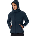 Navy Blue - Pack Shot - B&C Mens Hooded Softshell Breathable, Waterproof & Windproof Jacket (Fleece Lining)